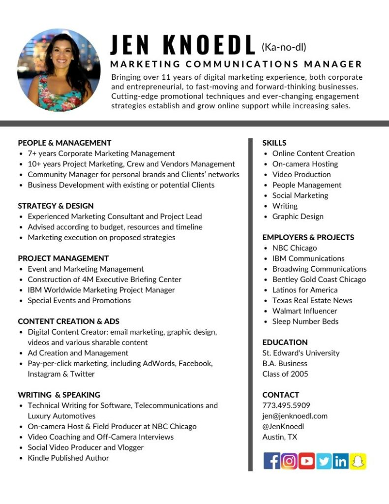 Marketing Communications Manager Resume Jen Knoedl